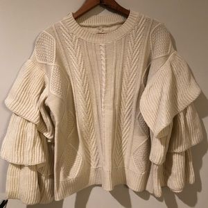 Sweaters - Ruffled Sleeve Sweater